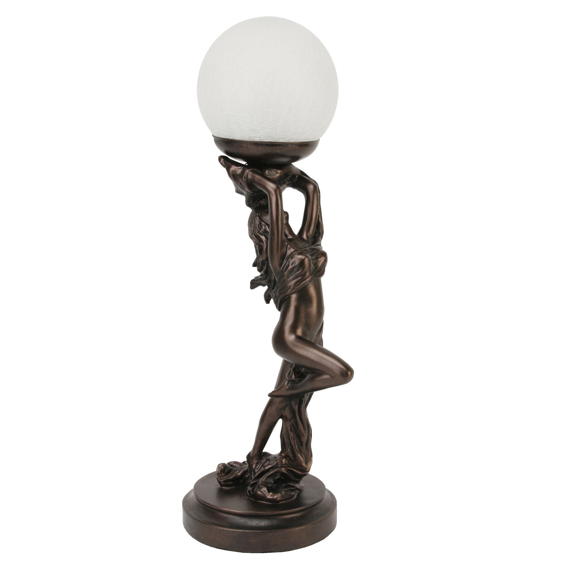 Juliana Gifts Lamp - Bronze Art Deco Lady Holding Orb