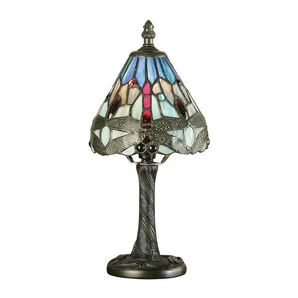 Dragonfly Tiffany Blue Mini Table Lamp Aluminium 40W Table Decor