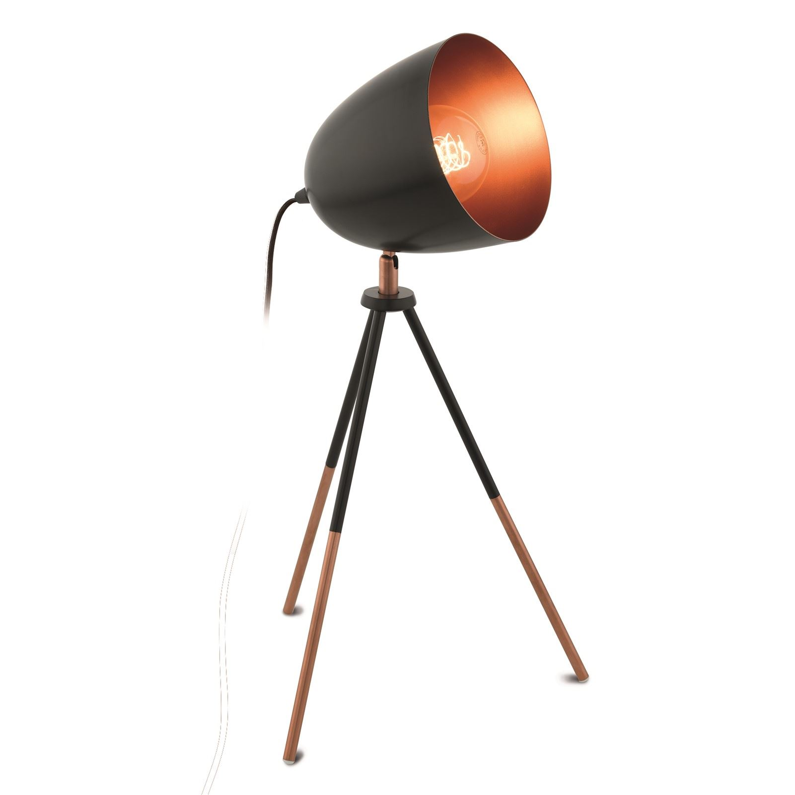 Chester Table Lamp 1 Light E27 Black Copper