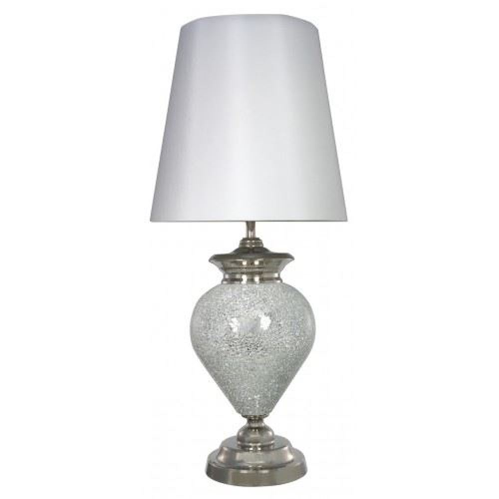 Modern Style Silver Metal Table Lamp With White Tapered Shade