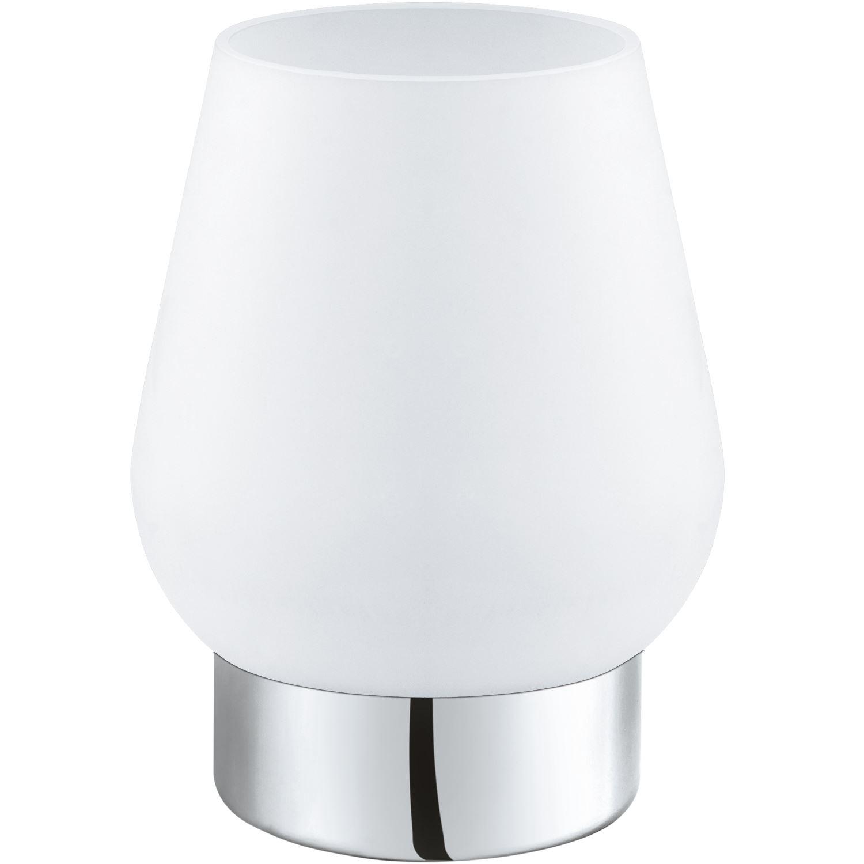 Damasco Table Lamp 1 Light E14 Chrome Satinated Glass Shade