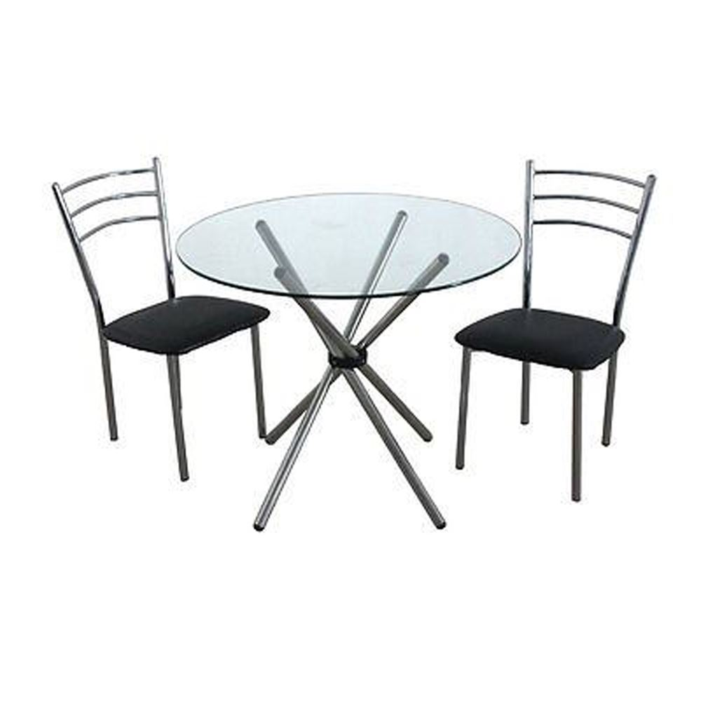 3Pc Dining Set,Black Leather Effect/Chromed Steel Chairs,Glass Table Top/Chromed Steel Legs