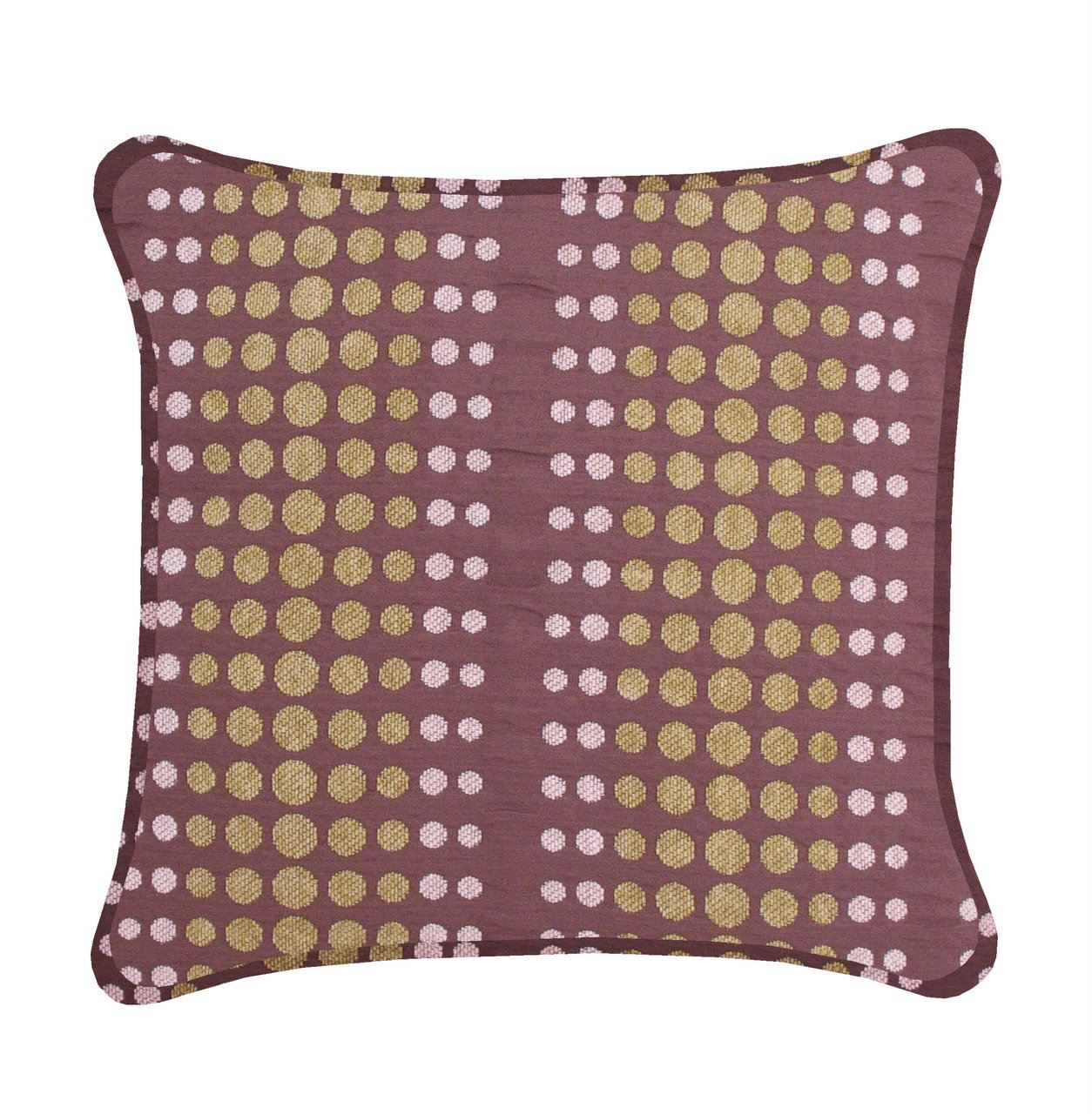 Brown Cushion For Bed Sofa Couch Moss Green Dots Retro Style