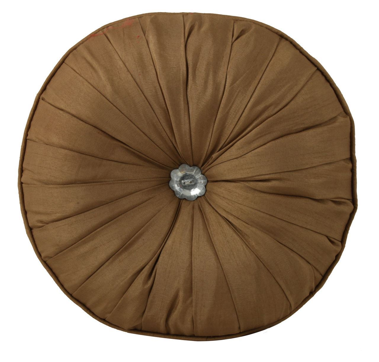 Brown Round Button Diamond Cushion Filled Inner Home Decor (Set of 2)