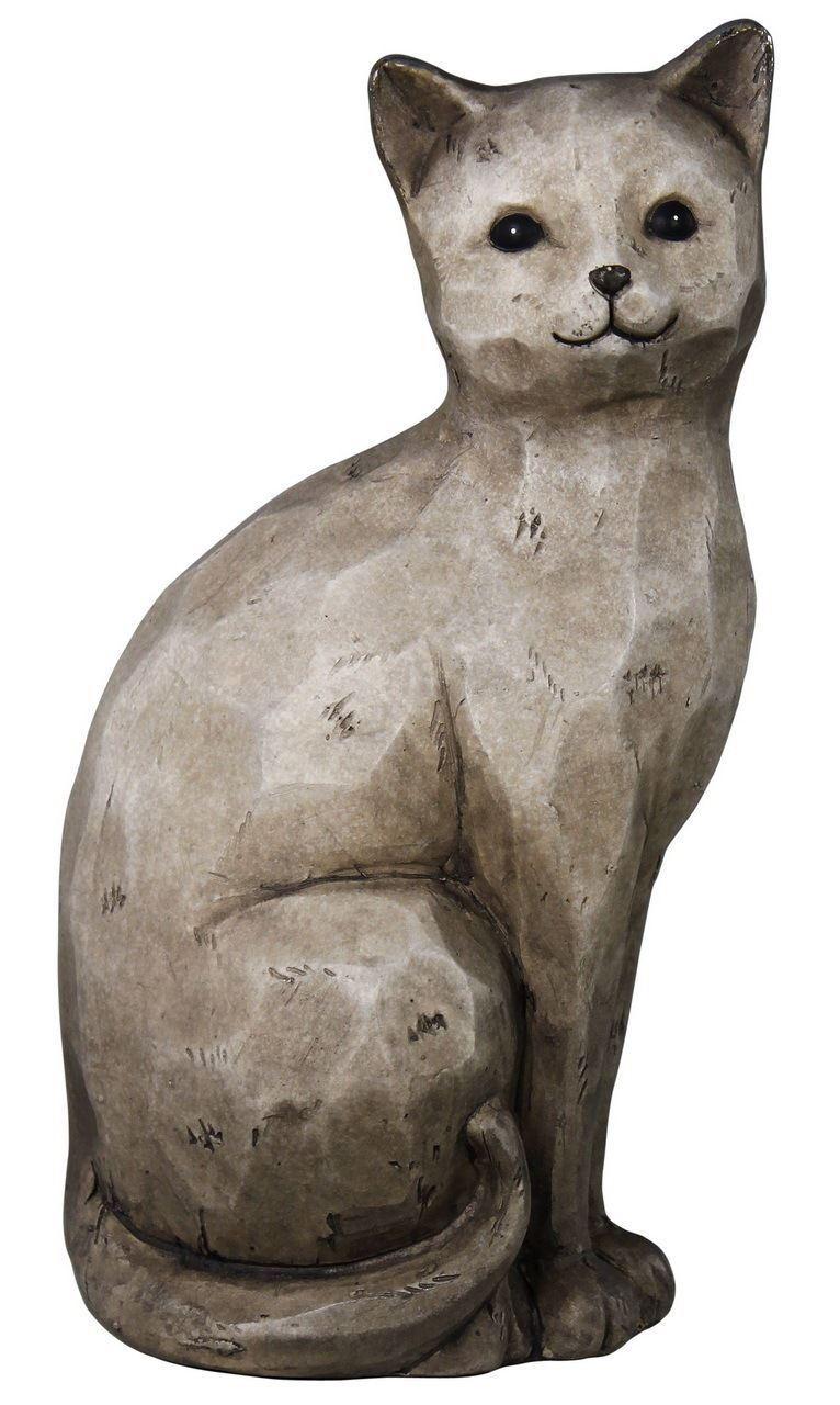 Soft Grey Sitting Cat Ornament Sculpture Figurine Grey detail Home Decor Display