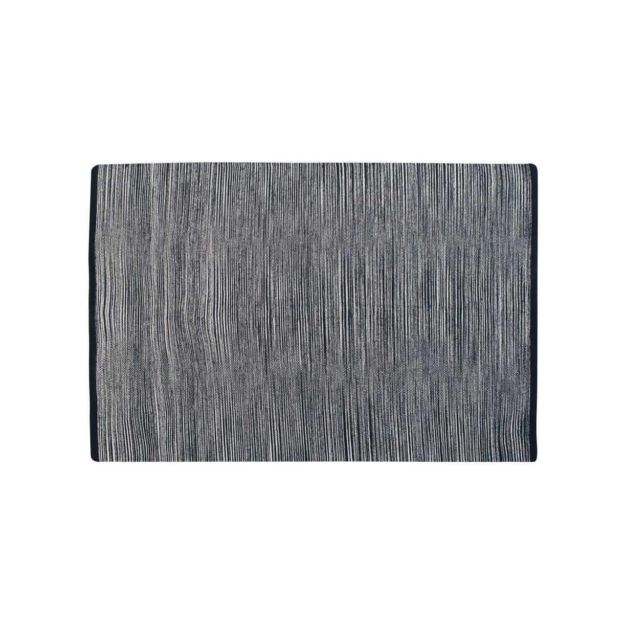Bosie Small Stripe Rug,100% Cotton Woven,Black Multi-Stripe
