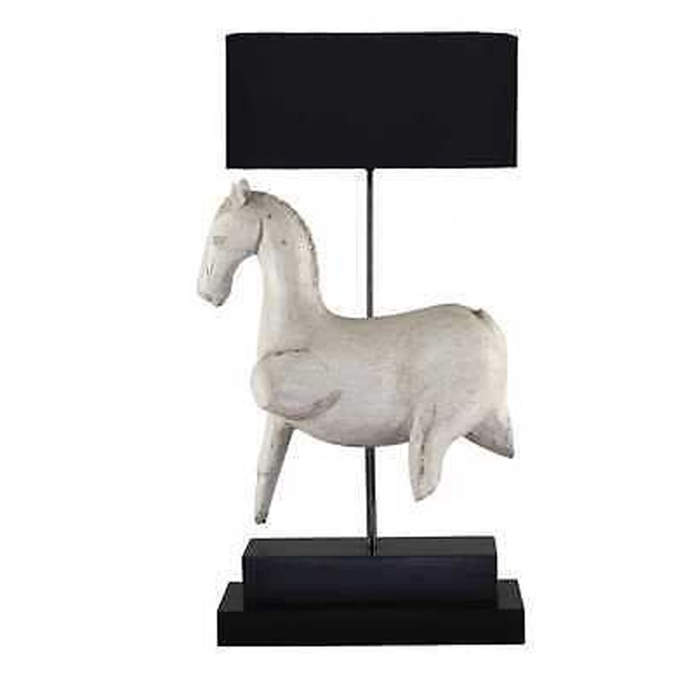 Contemporary Style White Wooden Horse Table Lamp With Black Shade