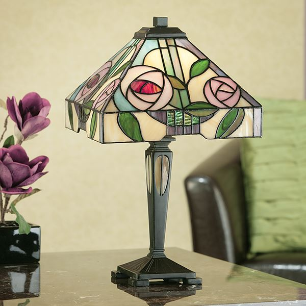 Willow Small Tiffany Style Table Lamp 40W For Living Room Decor