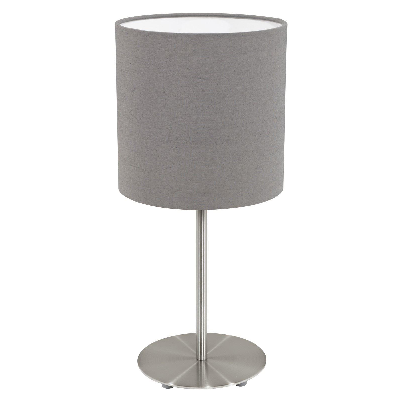 Pasteri Matt Brown Shade Steel Satin Nickel Table Lamp 1 Light E27