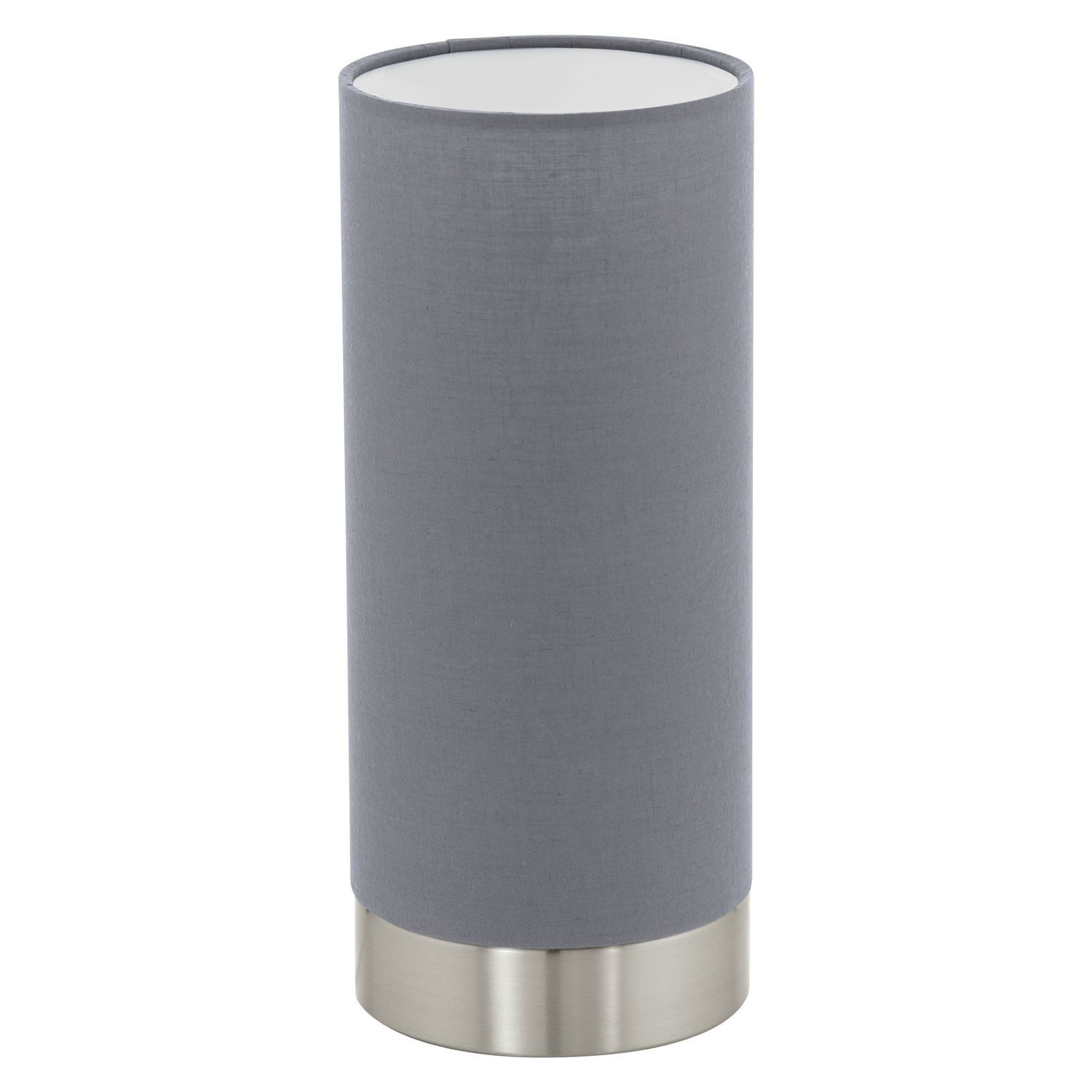 Pasteri Satin Nickel Table Lamp With Grey Shade Touchdimmer Switch