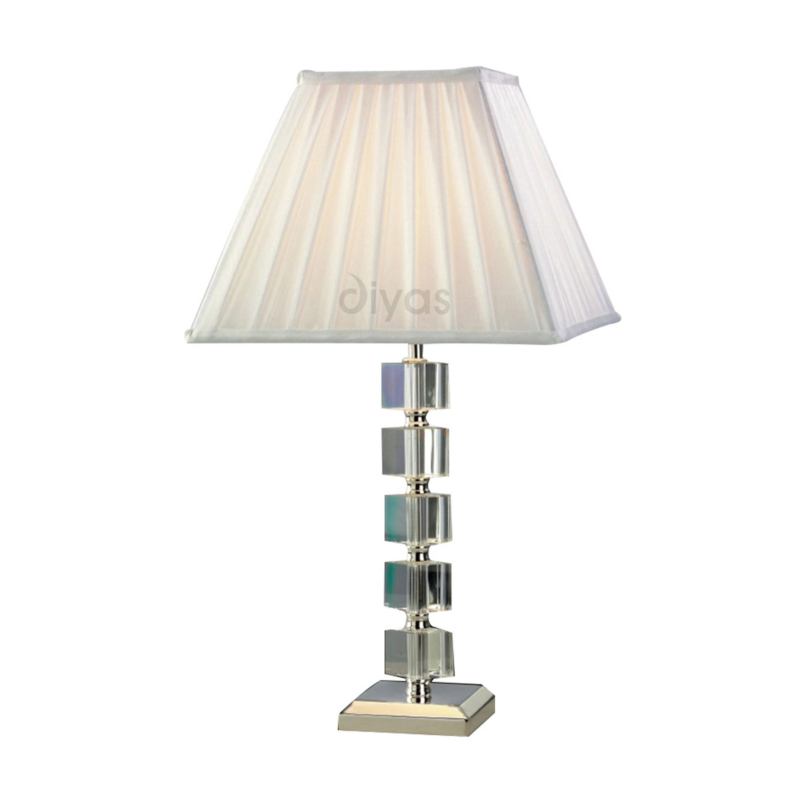 Crystal Modern Style Table Lamp Without Shade 1 Light Silver Finish