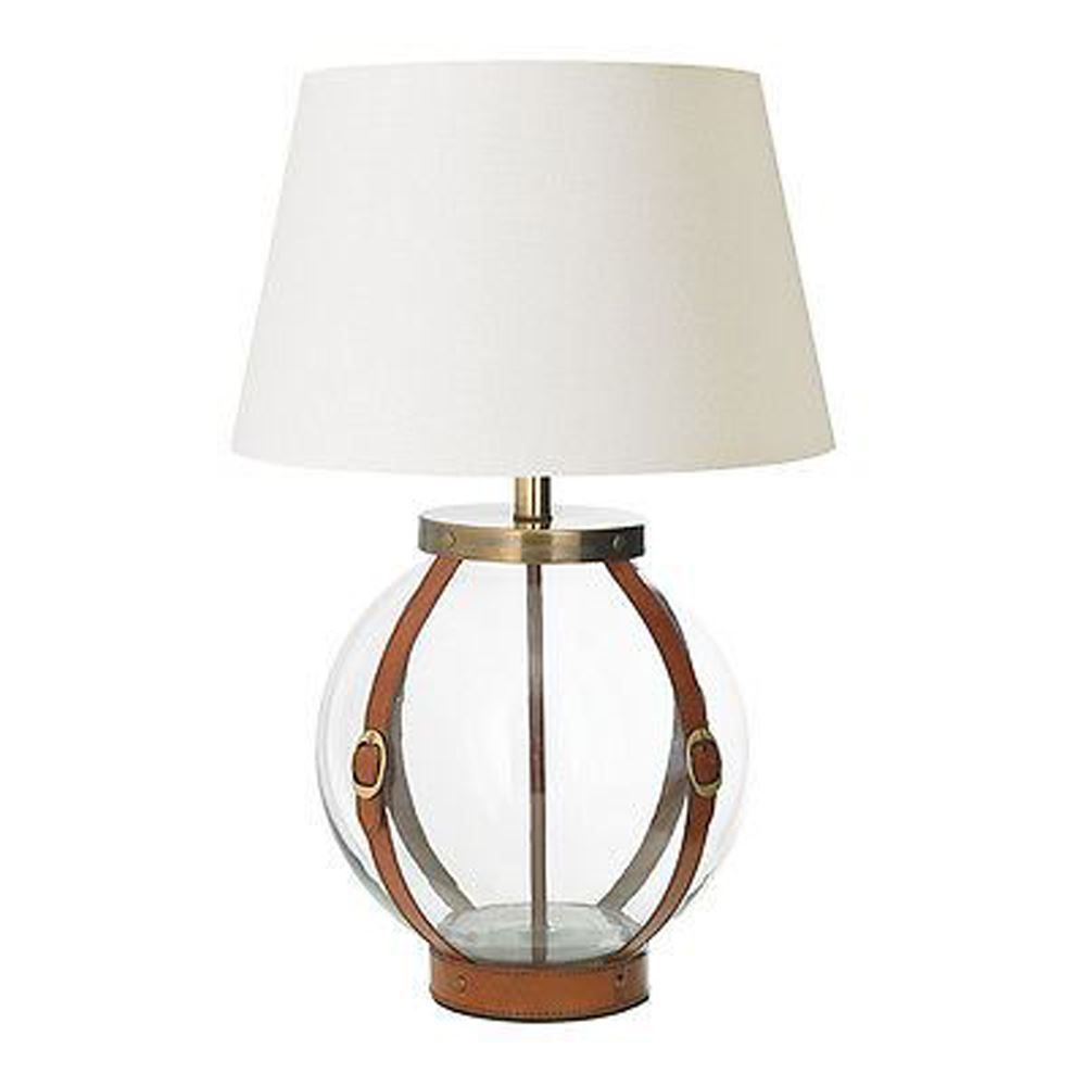 Forbes Tan Leather Straps Glass Globe Base Only Steel Table Lamp
