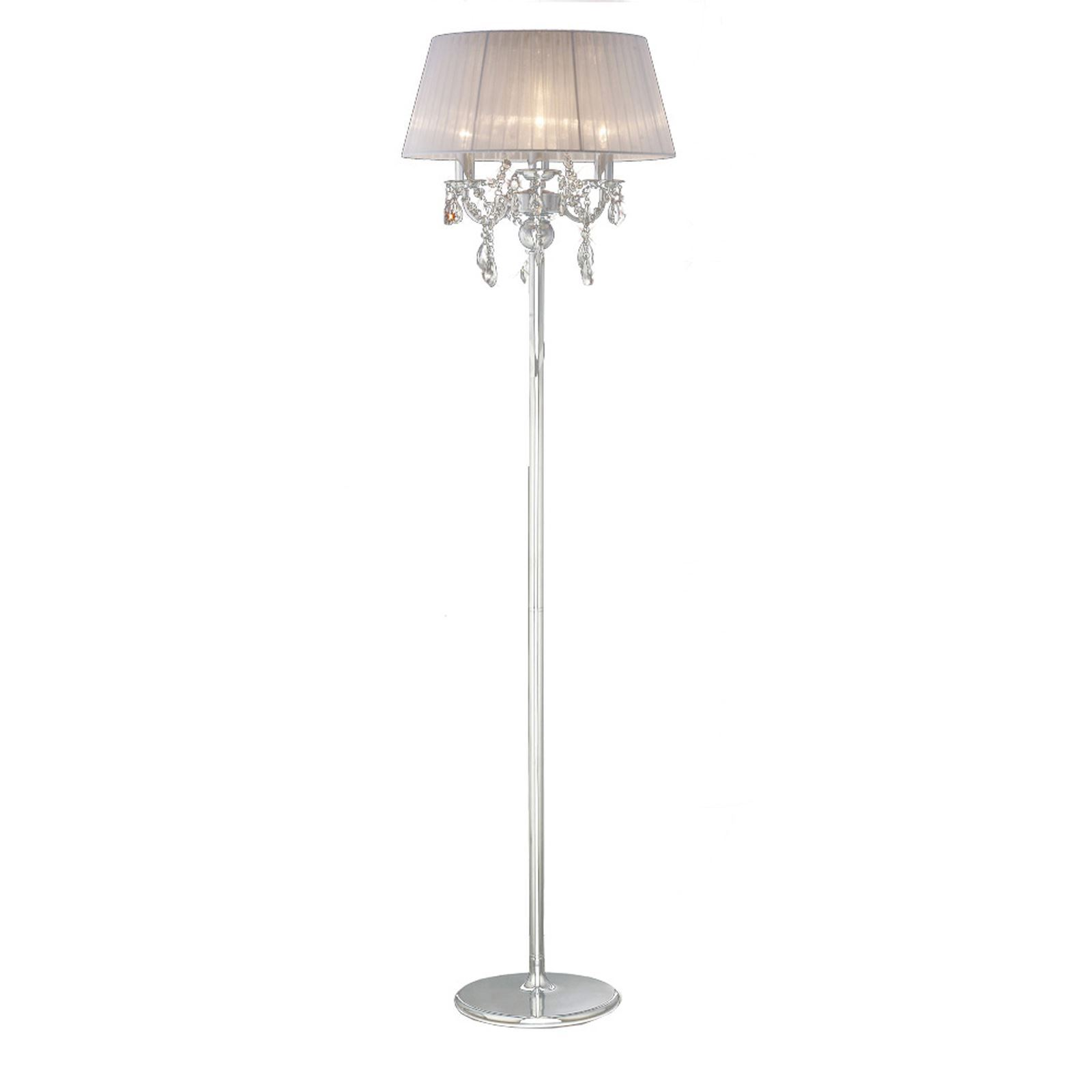 Decorative Olivia Floor Lamp With White Shade 3 Light Crystal