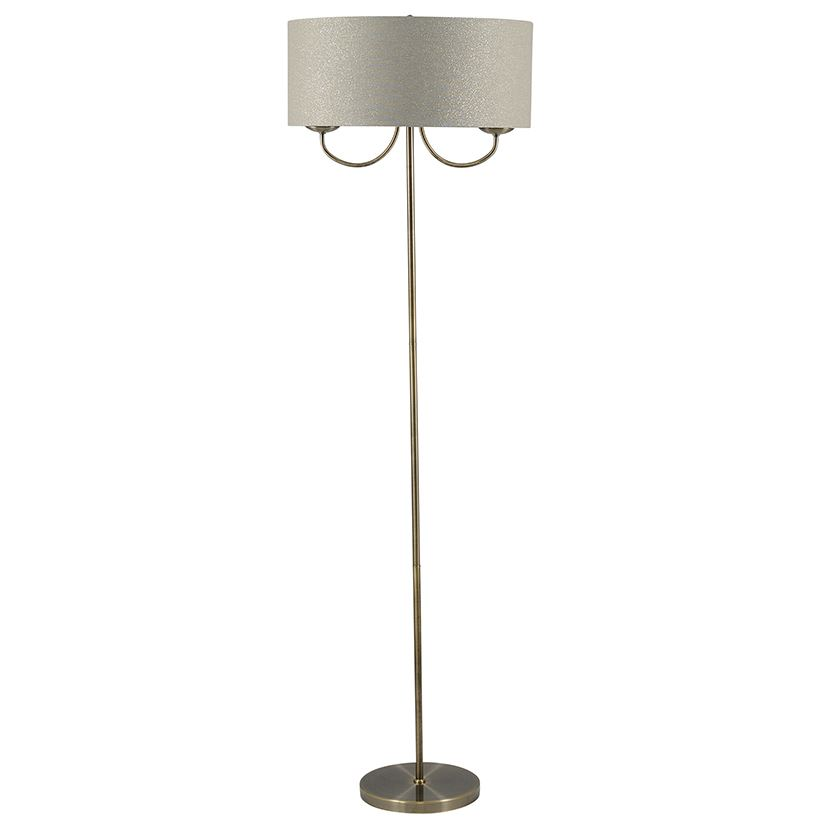 Classic 2 Light Antique Brass Shade Floor Lamp Modern Home Decor