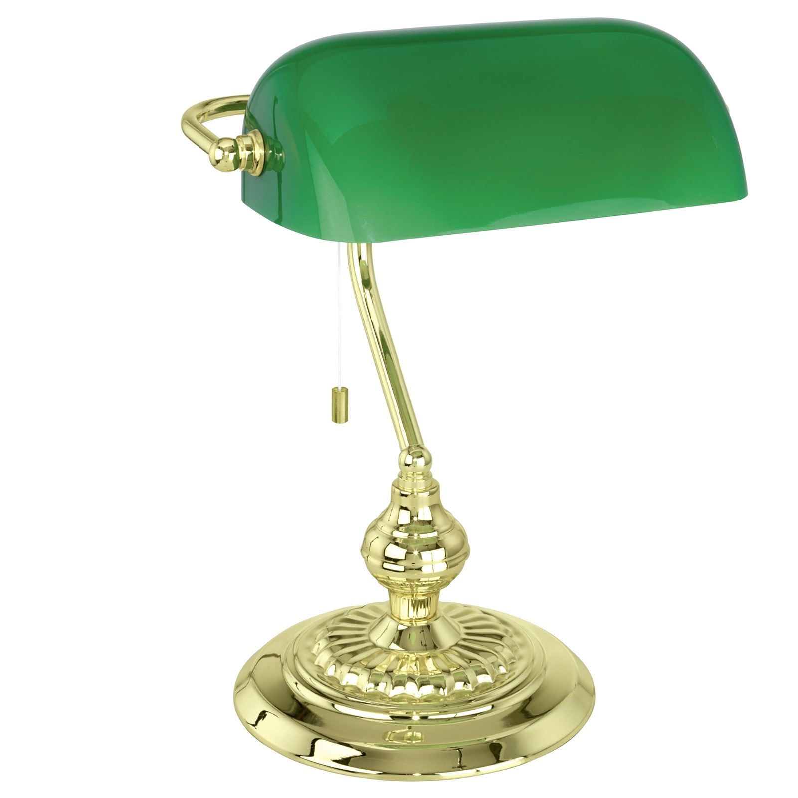 Banker Table Lamp 1 Light With Green Glass Shade