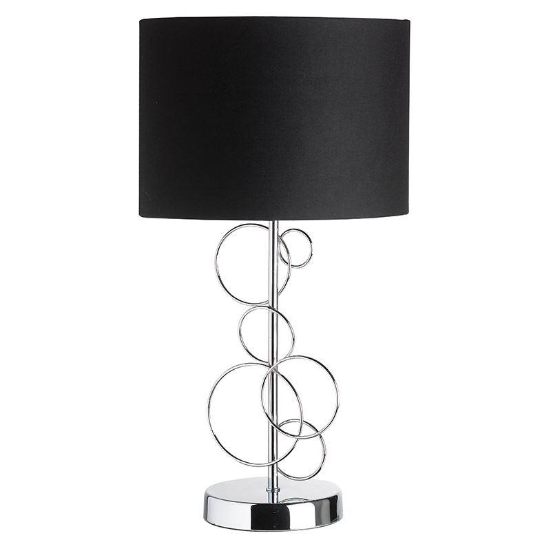 Finchley Decorated Chrome Table Lamp With Black Cotton Mix Shade