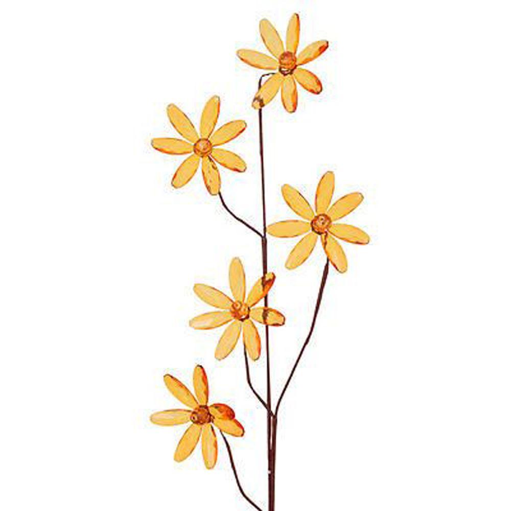 Orange Sparkling Acrylic Daisy On Stem Floral Decoration