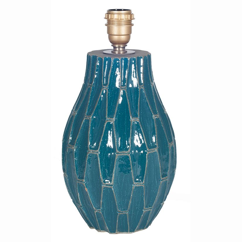 Teal Geometric Lamp Base With Tarnished Grey Detail