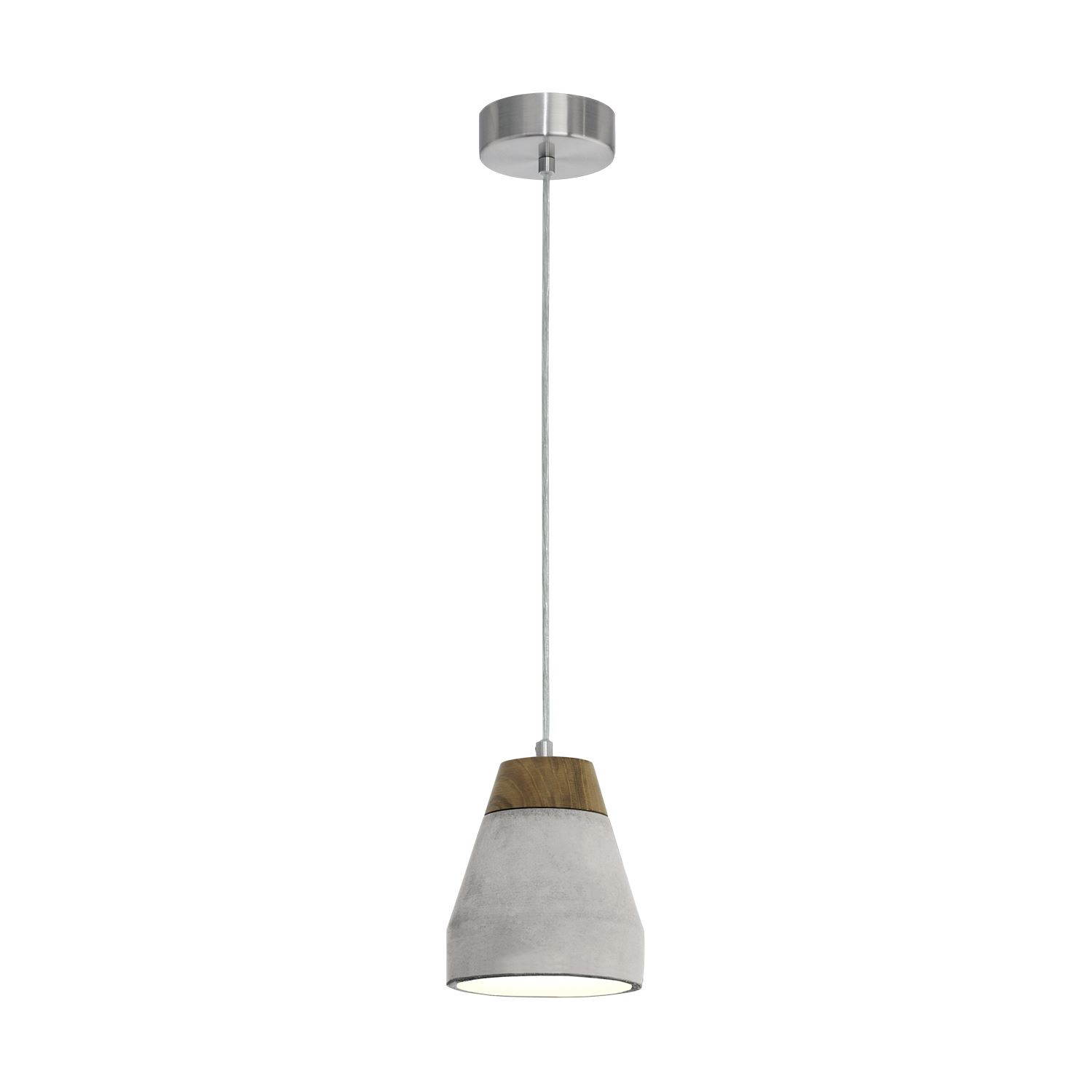 Tarega Pendant Hanging Light E27 Wood Concrete Brown Grey
