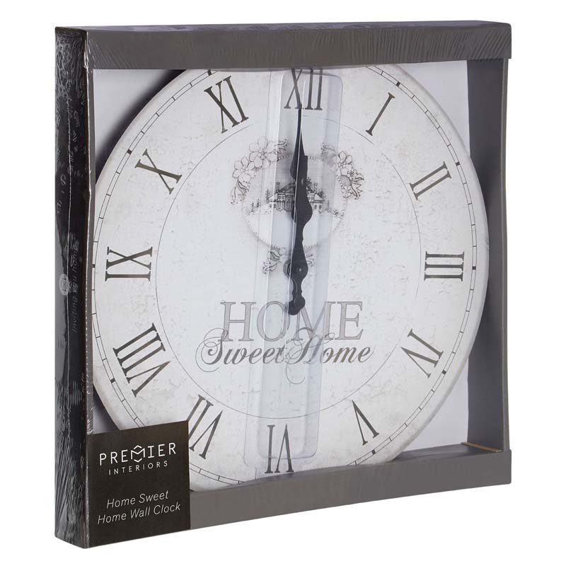 Country Style HOME SWEET HOME Wall Clock in Light Cream Finish
