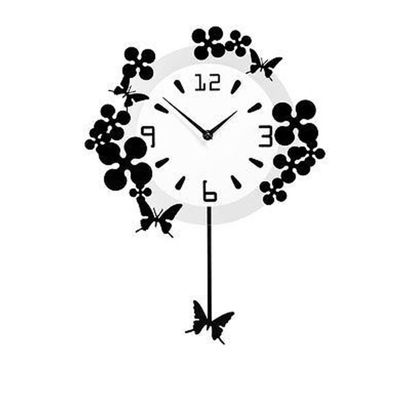 Beautiful Design Wall Clock With Flowers & Butterflies in Black Acrylic