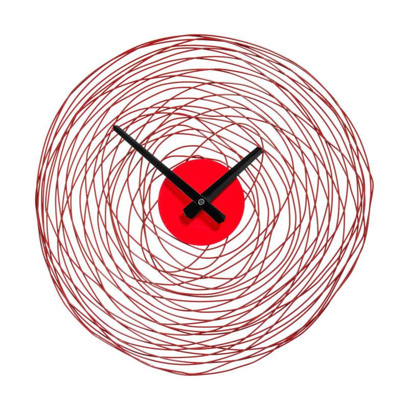 Wall Clock,Red Swirl,Metal/Plastic