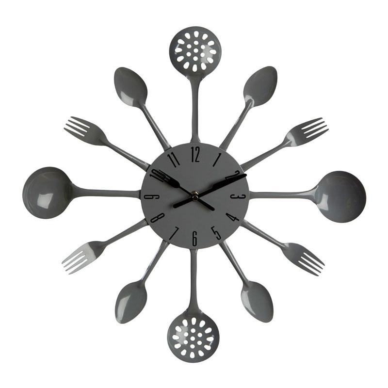 Modern Grey Metal Cutlery Design Wall Clock