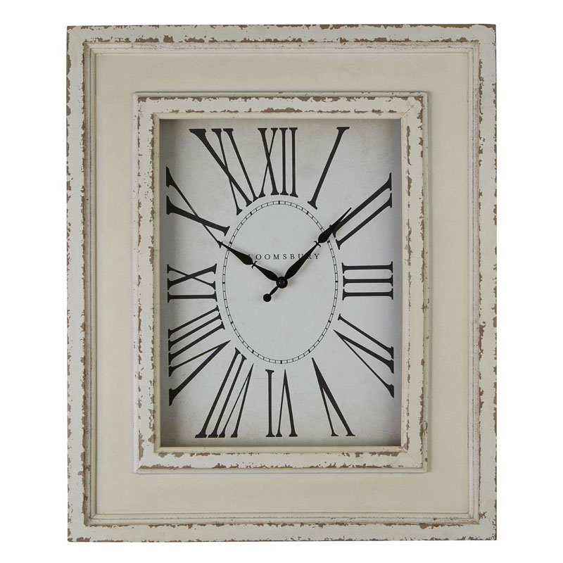 Antique Style White Distressed Wood Wall Clock