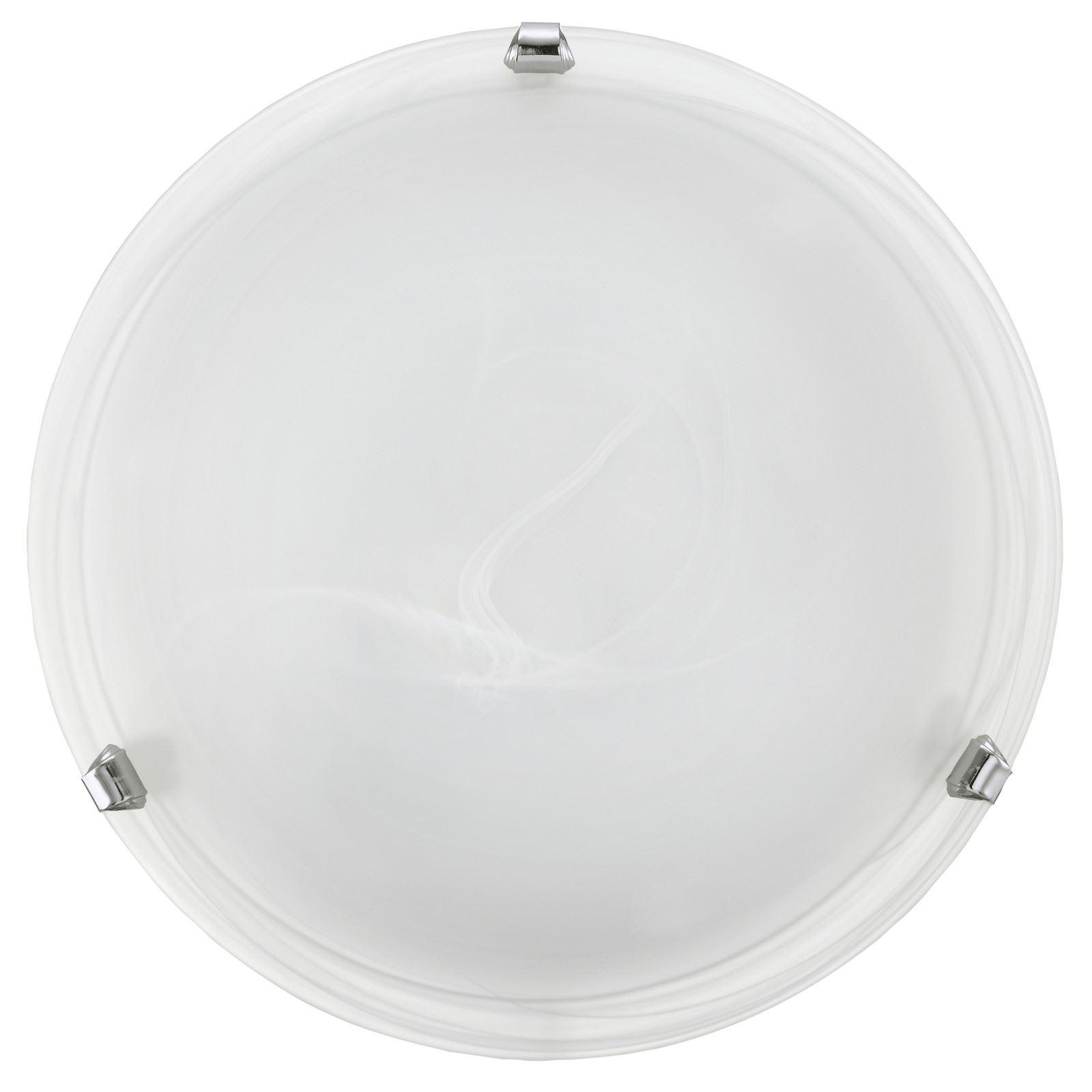 Salome 1 Ceiling Light E27 Alabaster Glass Chrome Finish