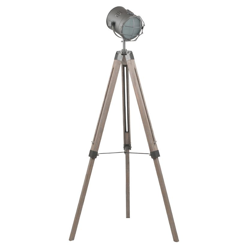 Grey Metal & Antique Wood Tripod Floor Marine Lamp