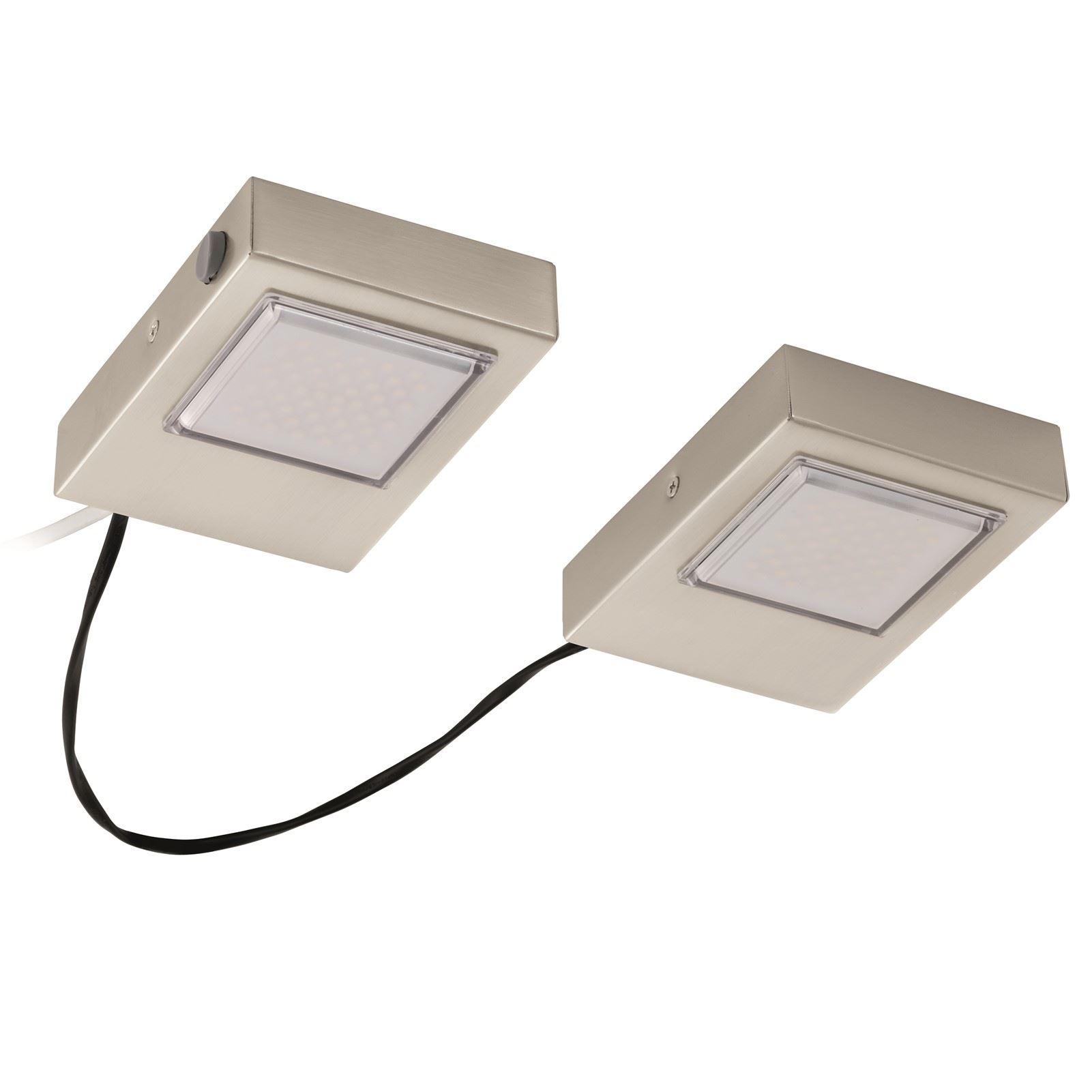 LAVAIO Under Cabinet LED 2 Light Steel Satin Nickel