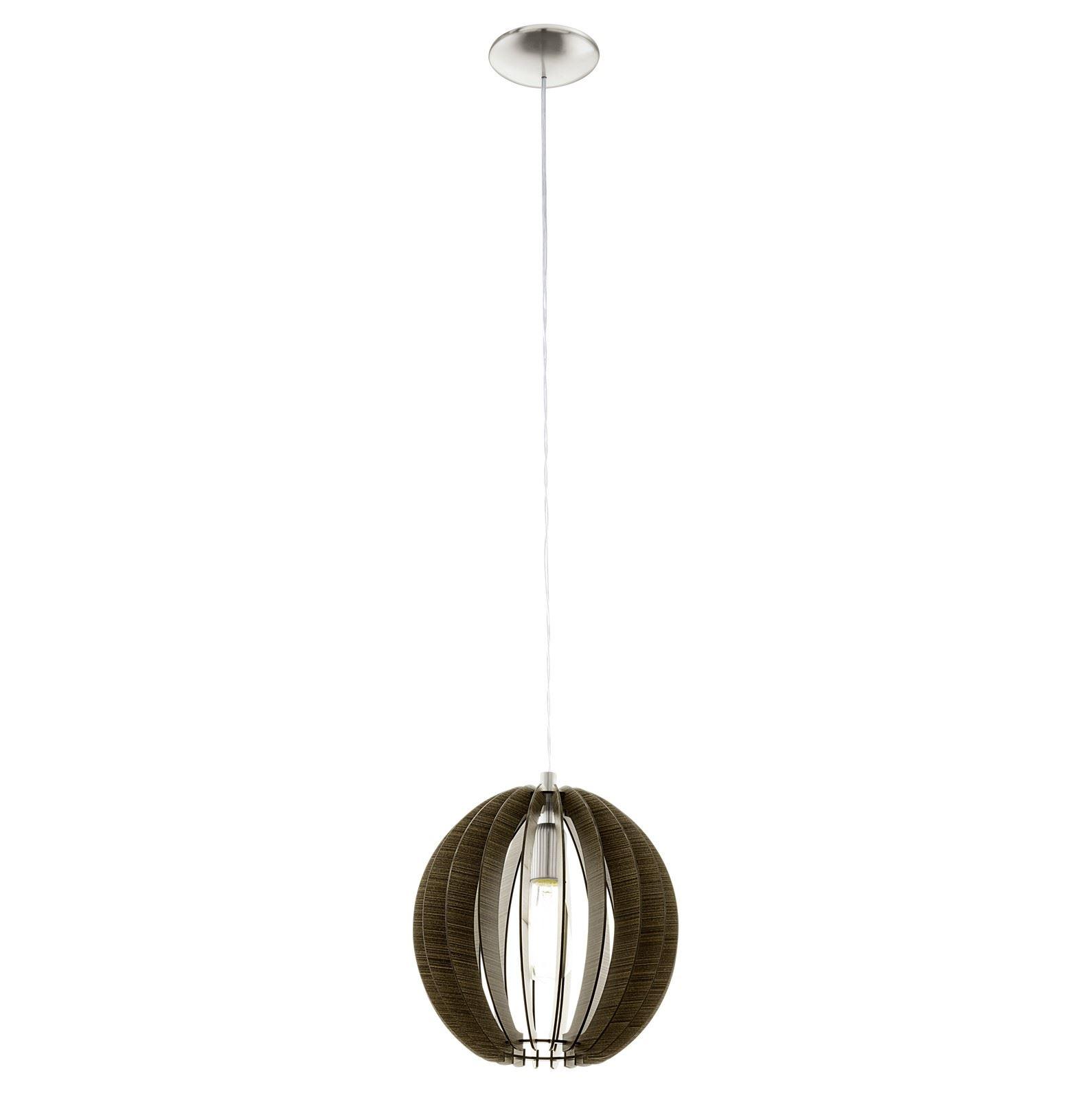 Cossano Satin Nickel Hanging Light E27 Dia 300mm Wood Dark Brown Shade