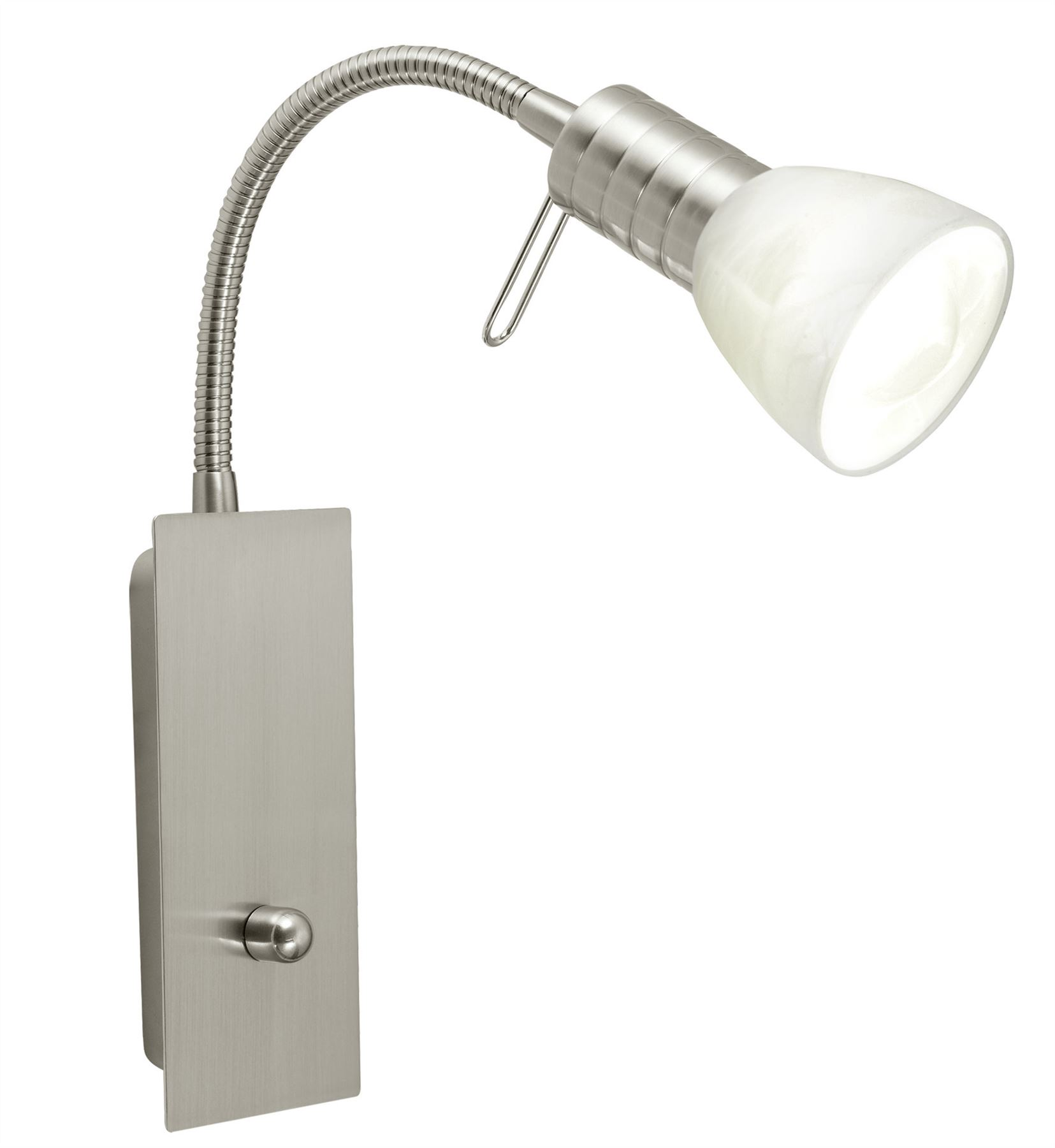 Prince 1 Steel 1 Wall Light Alabaster Glass White Shade