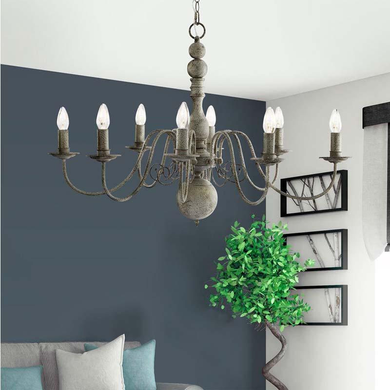 Greythorne - 8 Light Ceiling, Textured Grey Finish