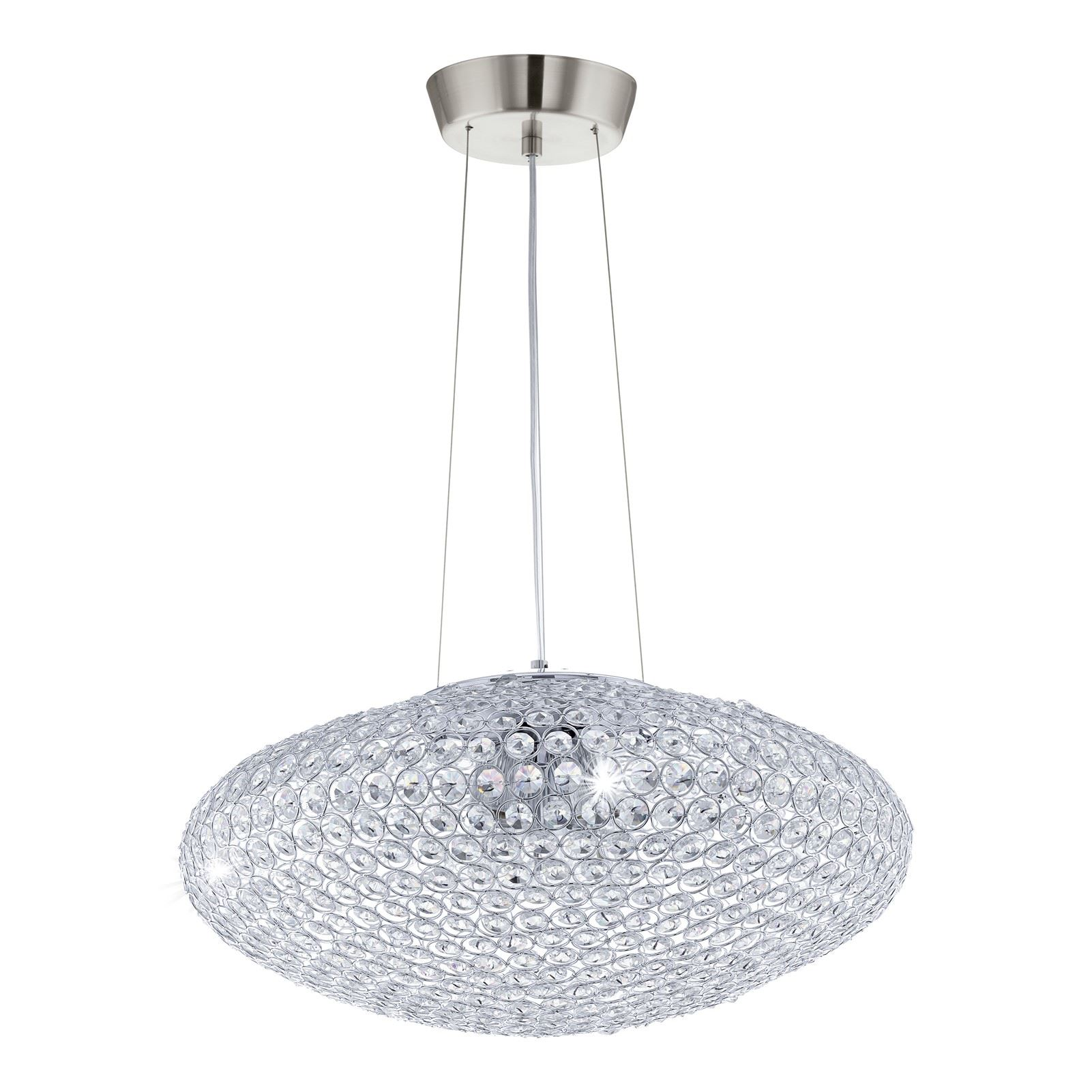Clemente Hanging Light Pendant E27 Chrome Crystal Clear Dia 540 Mm