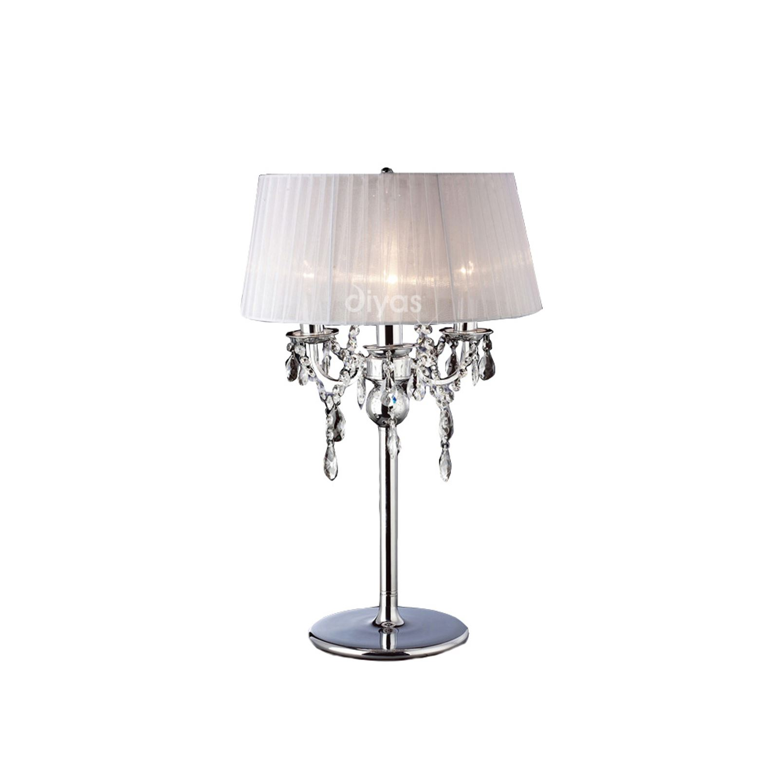 Stylish 3 Light Table Lamp Polished Chrome Finish  With White Shade Crystal Detail