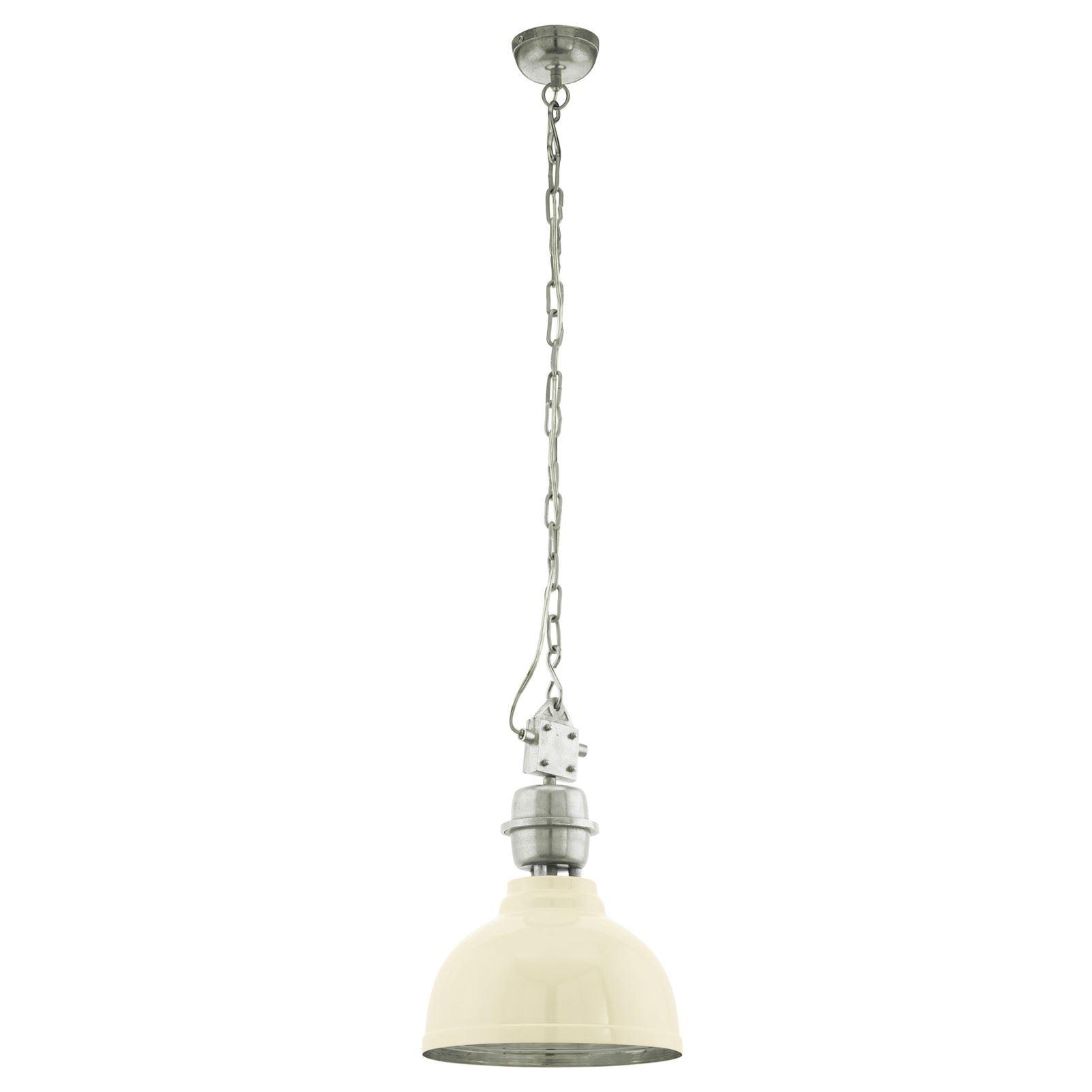 Grantham Steel 1 Hanging Light E27 Cream Beige Chrome