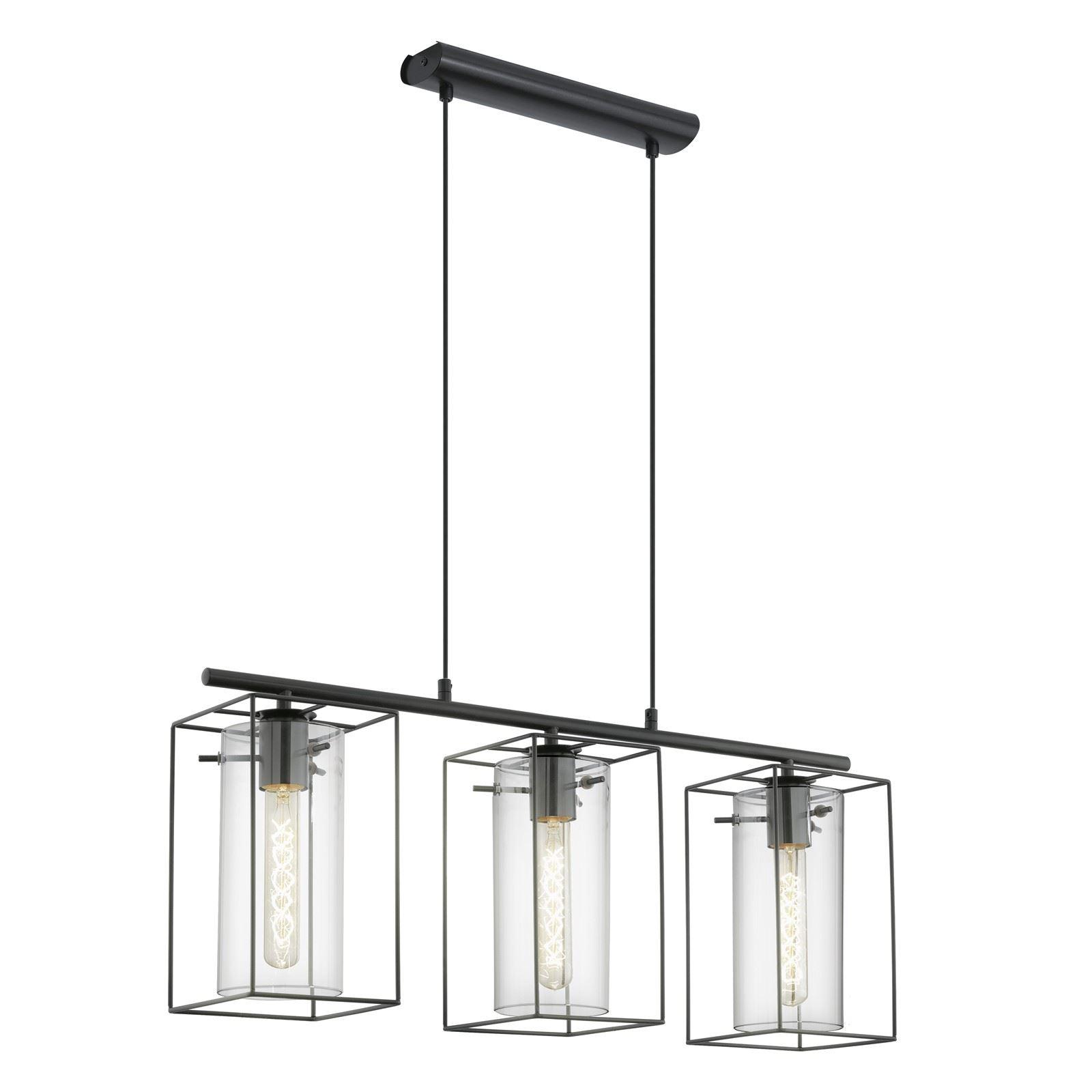 Loncino Hanging Pendant Light E27 Black 3 Lights