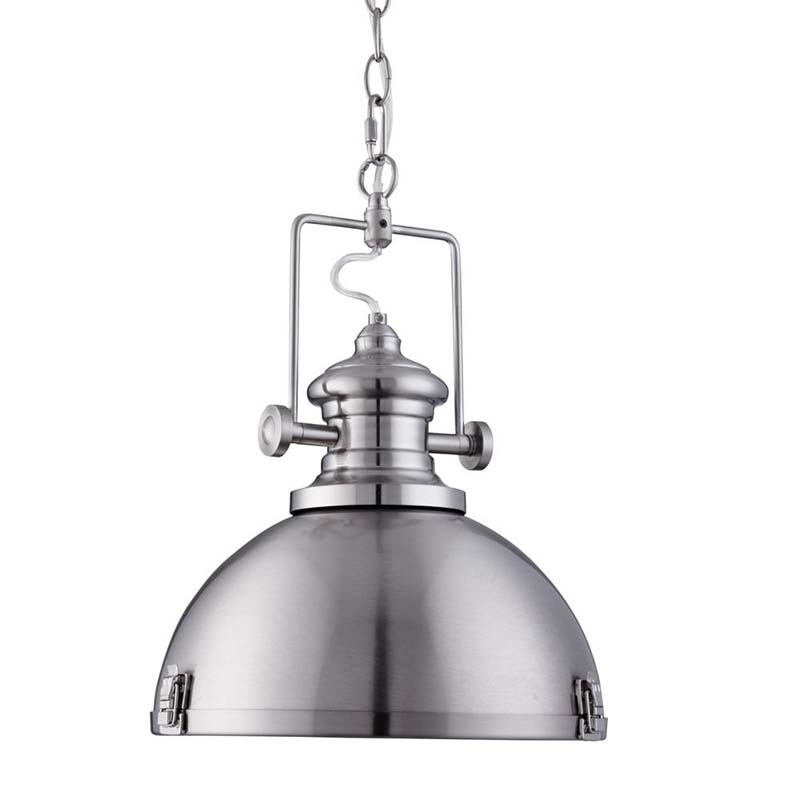 Industrial Pendant 1 Light Satin Silver, Clear Lens