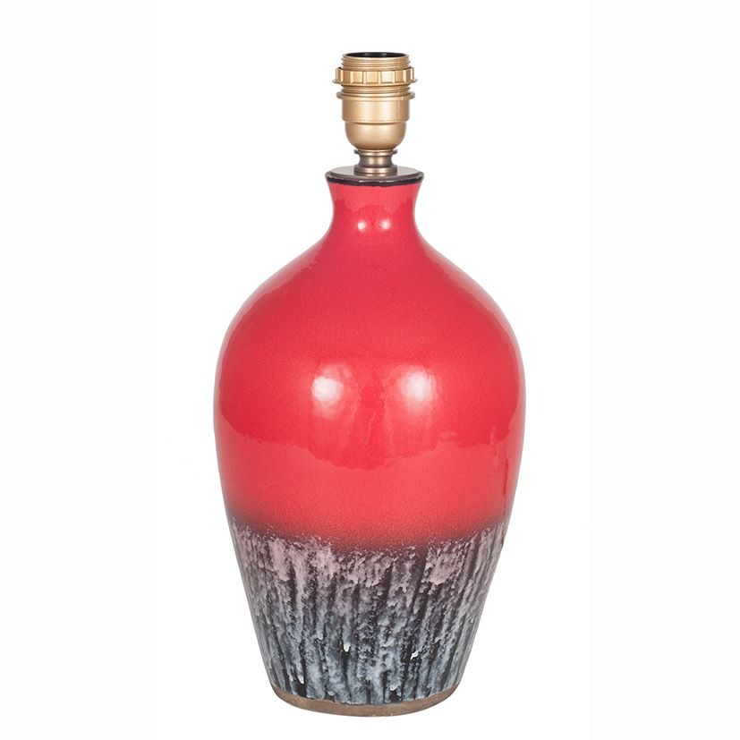 Red Volcanic Effect Lamp Base  Two Tone Glossy Top Smoke Grey Bottom