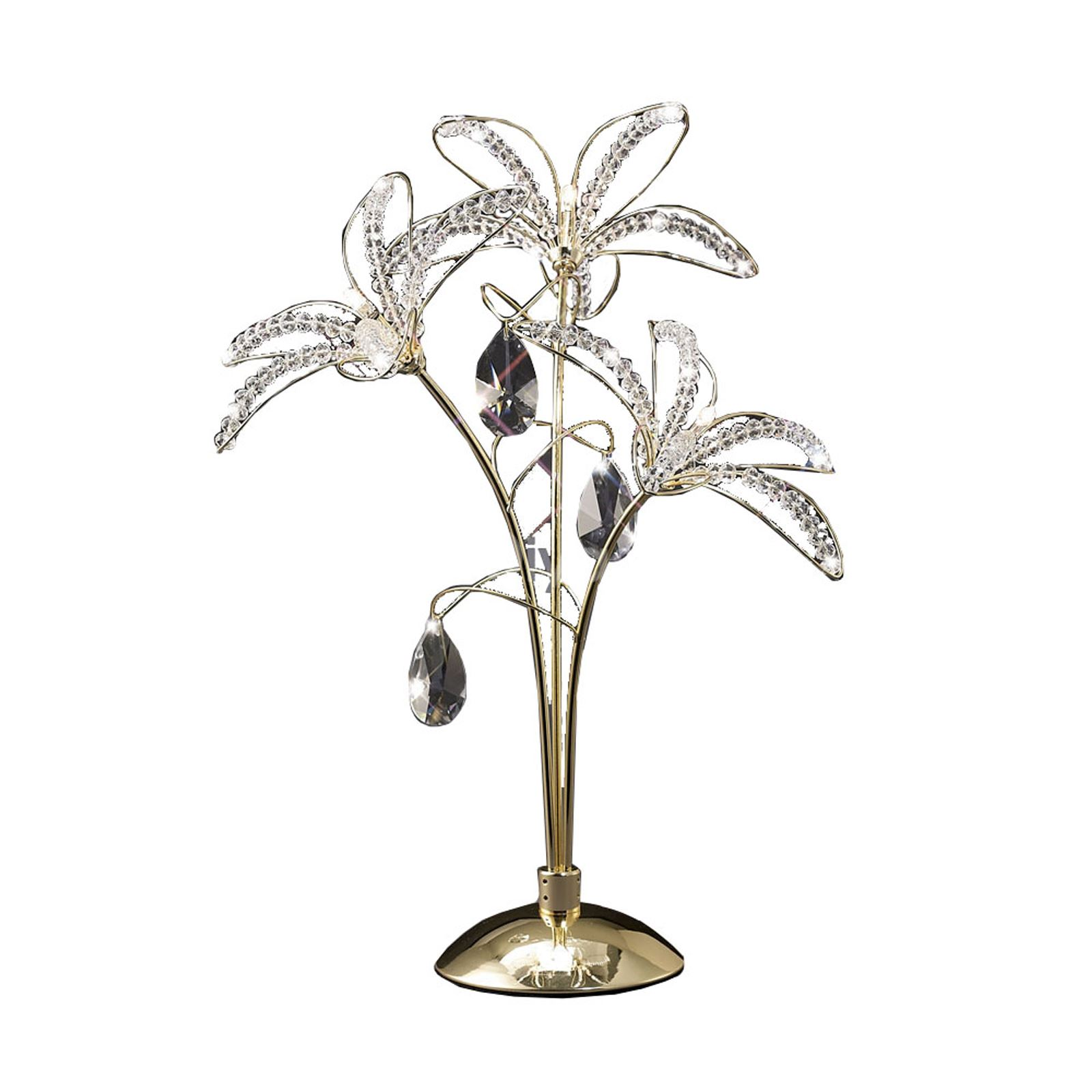 Stylish Table Lamp 3 Light Modern Home Decor French Gold/Crystal