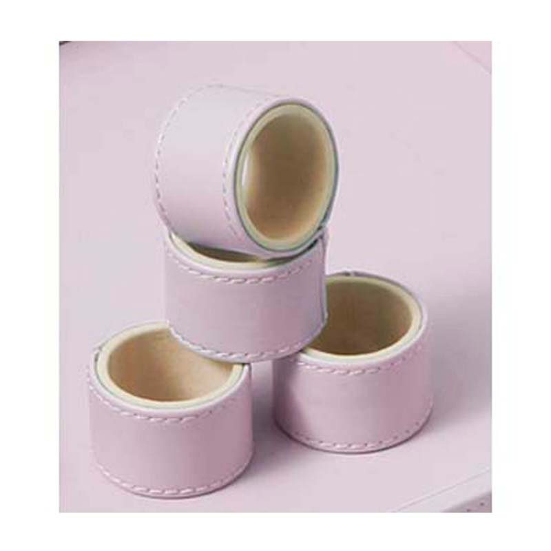 Napkin Rings,Set Of 4 Faux Leather Pink - Big Living
