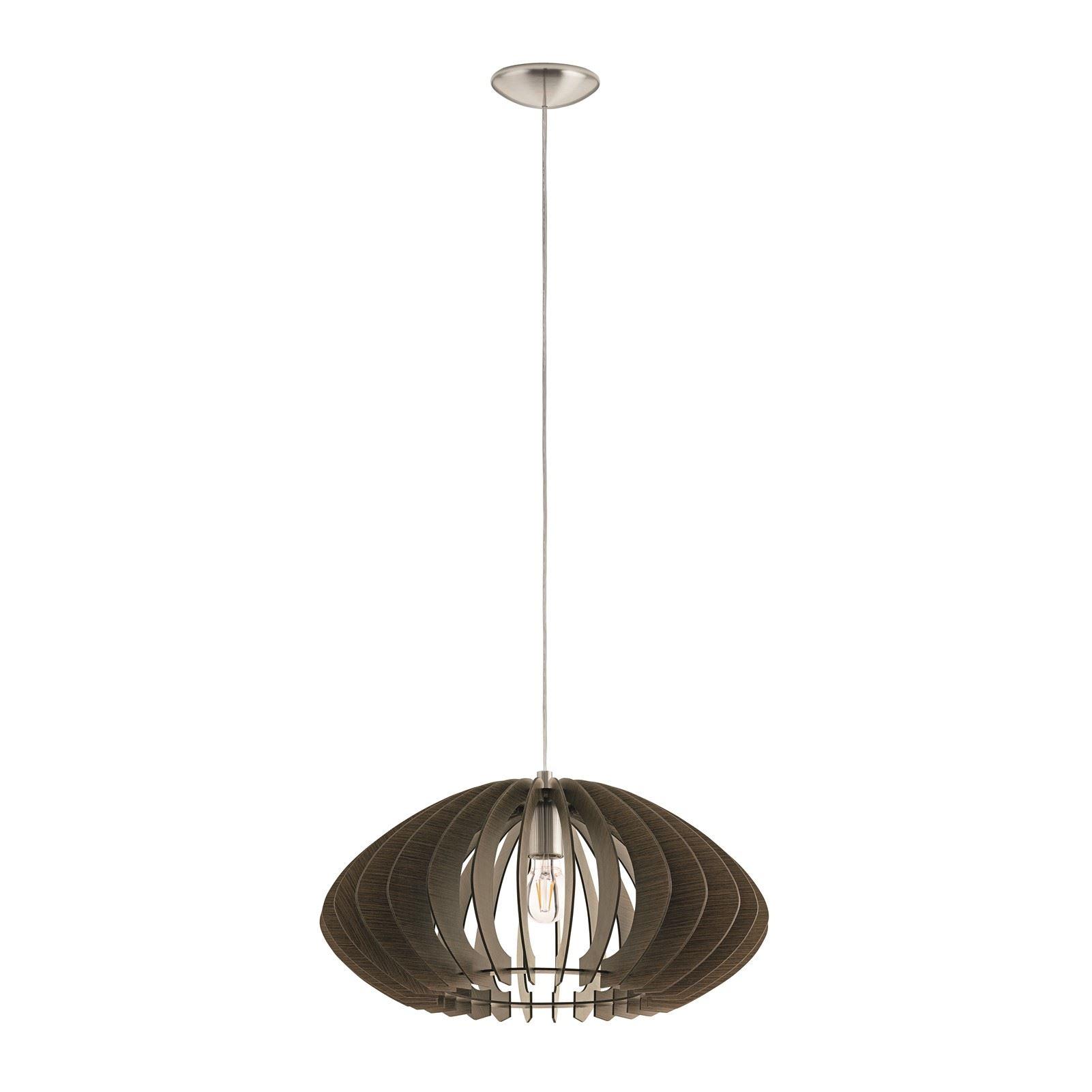 Cossano Satin Nickel Pendant Hanging Light Dia 500mm Wood Dark Brown