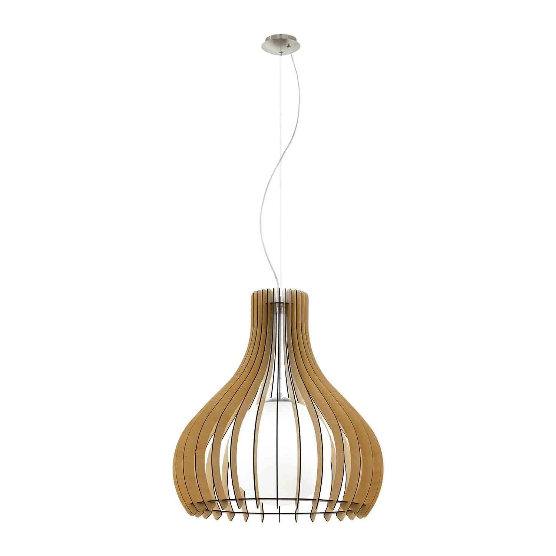 Tindori Satin Nickel Hanging 1 Light Wood Maple Dia 600mm Glass White Shade