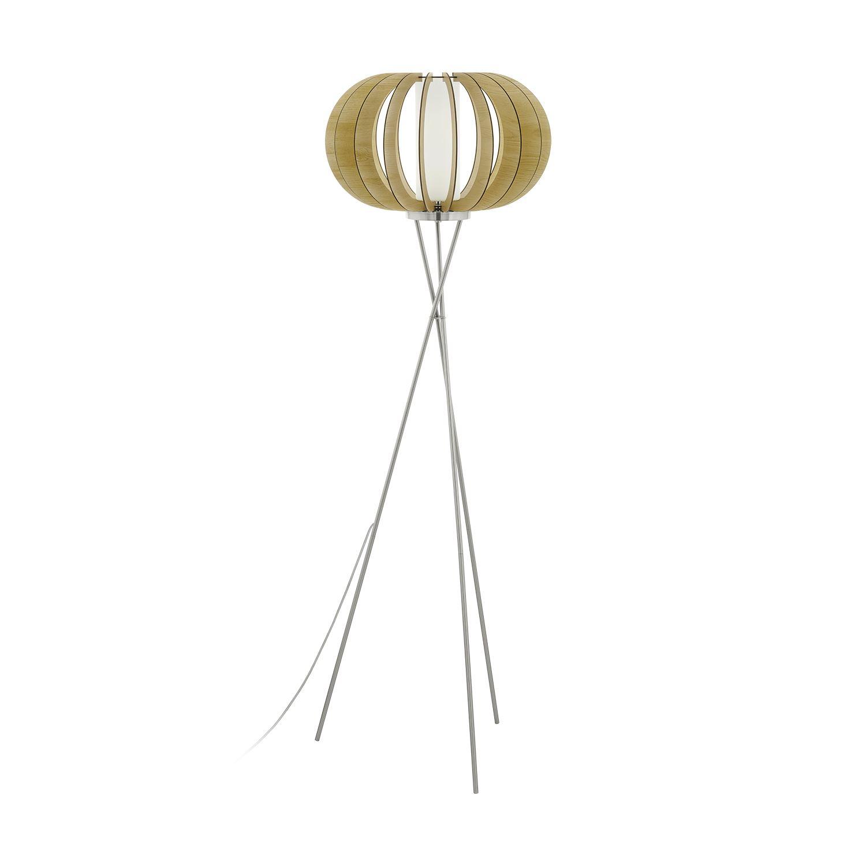 Stellato Floor Lamp 1 Light Wood Glass Shade Foot-Switch
