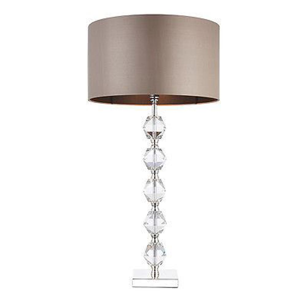 Verdone Single Table Lamp Bright Clear Crystal Glass - Taupe Silk Shade