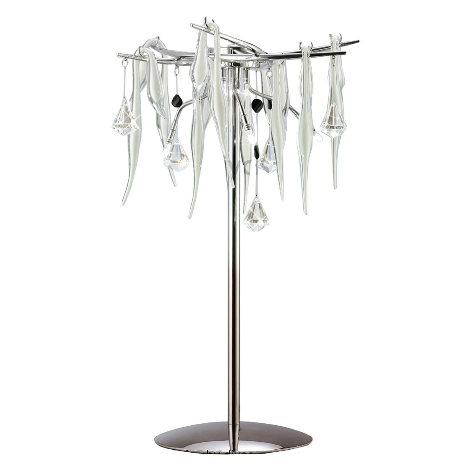 White Glass/Crystal Clear Decorative Table Lamp 6 Light - Modern Style