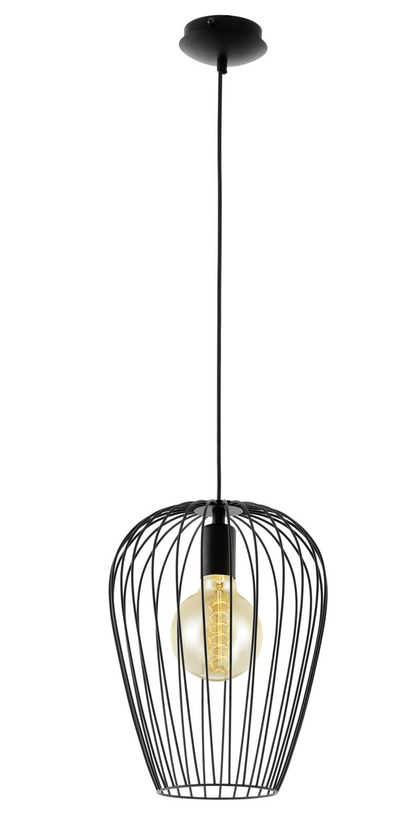 Newtown Stylish 1 Hanging Light E27 Black Steel
