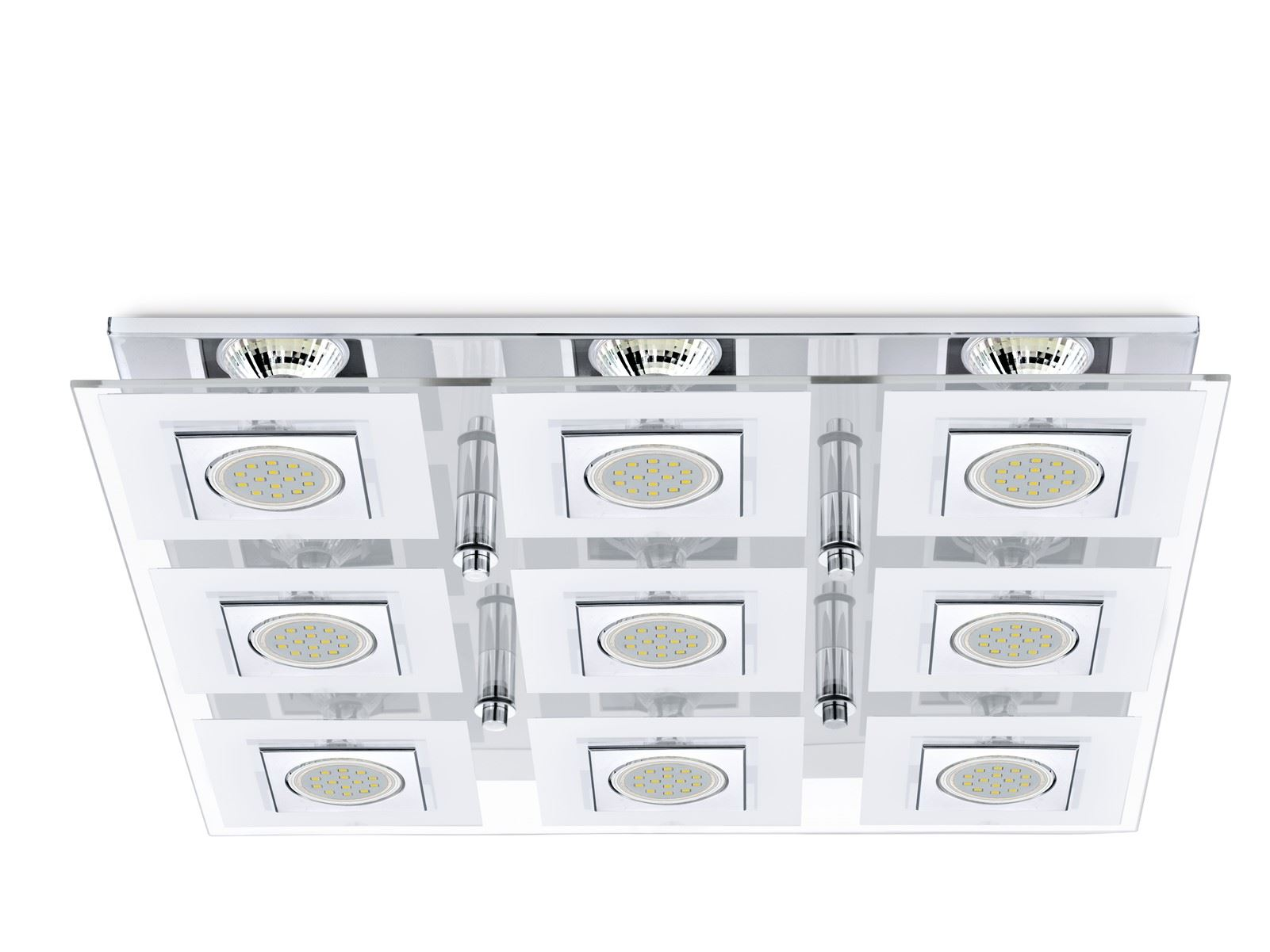 Cabo LED Ceiling Light 9x 3W Stainless Steel Chrome White Clear