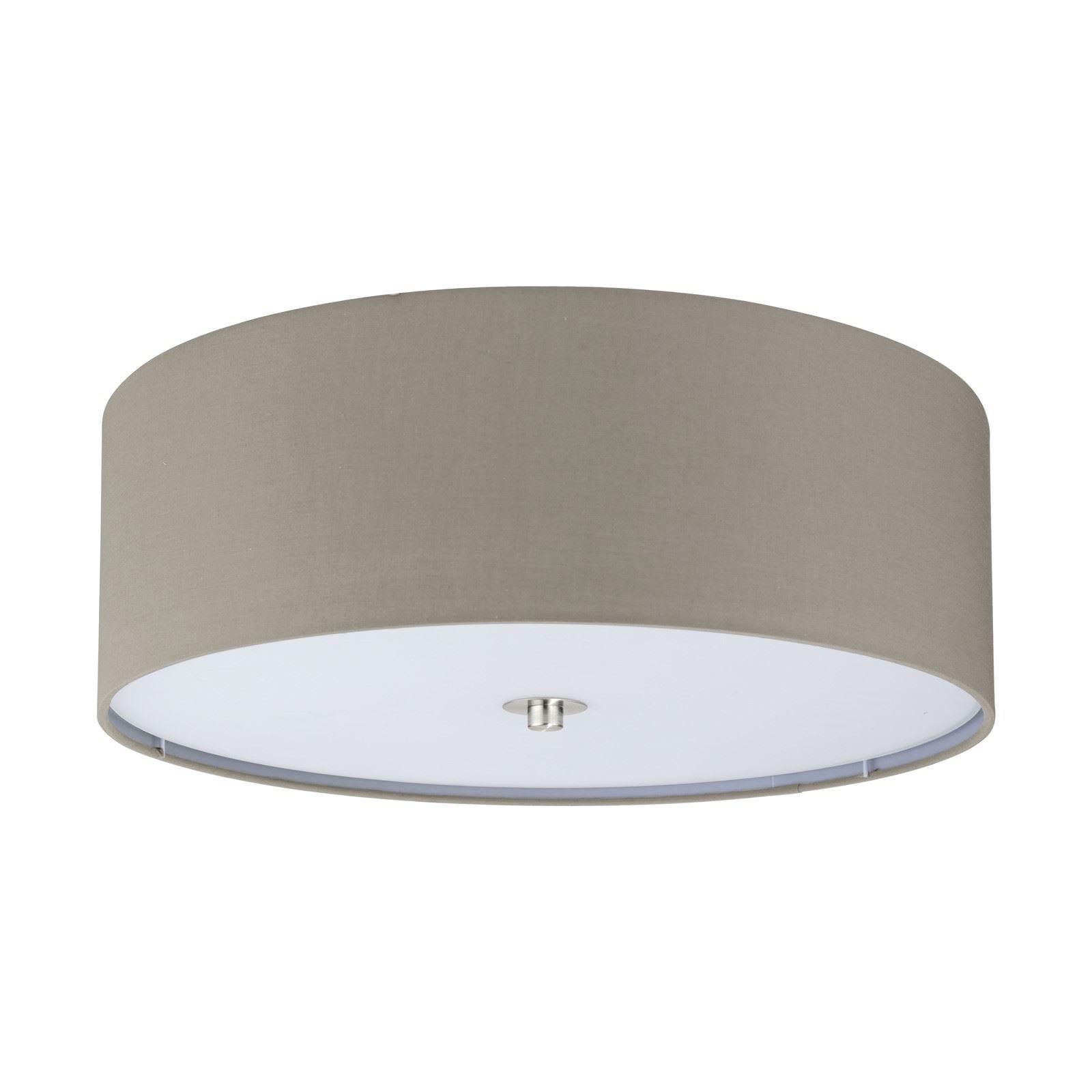Decorative 3 Ceiling Light Satin Nickel Fabric Glass Taupe Shade